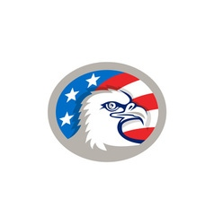 Bald eagle head usa flag oval retro vector