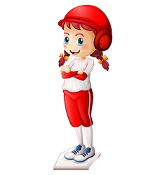A young female baseball player vector image vector image