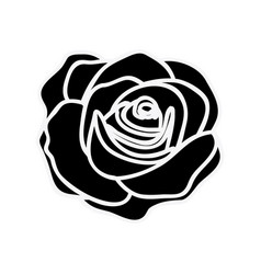 black silhouette with rose flower vector image vector image