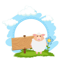 board template with white sheep vector image