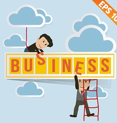 Cartoon businessman with business billboard - vector
