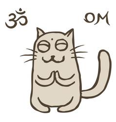 Cartoon cat tik reached enlightenment vector