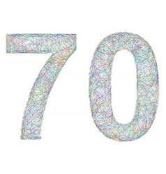 Colorful sketch anniversary design - number 70 vector