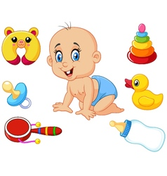 Cute baby with baby toys collection set vector
