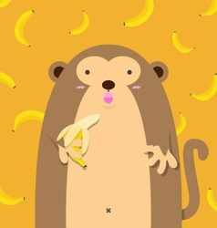 cute big fat monkey with banana vector image vector image