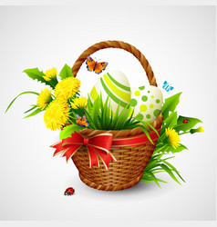 Easter card with basket eggs and flowers vector image