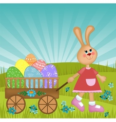 Easter greetings card with rabbit vector image