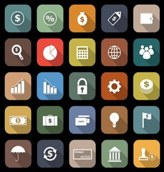 Finance flat icons with long shadow vector image