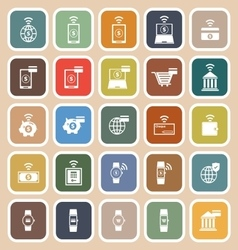 Fintech flat icons on brown background vector