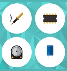 Flat icon appliance set of repair microprocessor vector