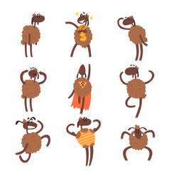 funny cartoon sheep character set brown sheep in vector image