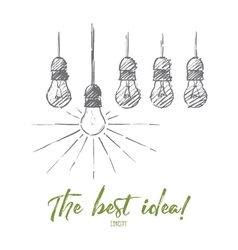 Hand drawn hanging light bulbs with one shining vector image