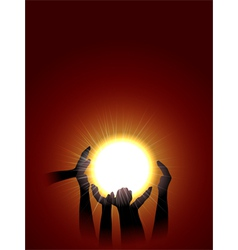 holding sun vector image vector image