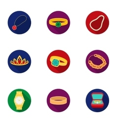 Jewelry and accessories set icons in flat style vector