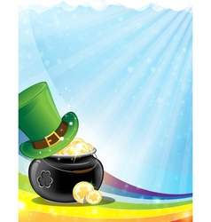 Leprechaun hat and pot with gold vector