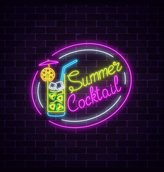 neon summer sign of cocktail with umbrella on vector image