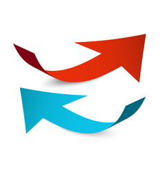 Red and blue arrows paper arrow set isolated on vector