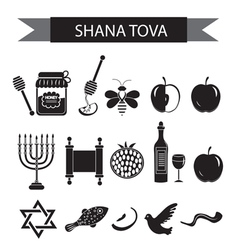 Set icons on the jewish new year black silhouette vector