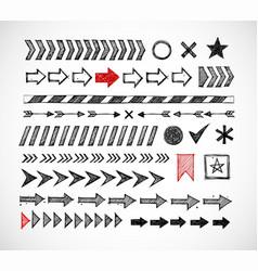 set of doodle arrow dividers pointers danger vector image