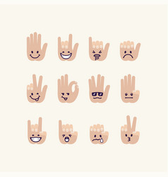 Set of gesture human palm with emotion signs vector