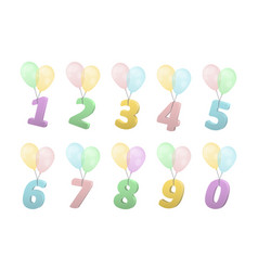 Set of volume numbers on balloons vector