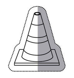 Sticker silhouette striped traffic cone flat icon vector