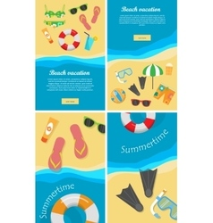 Summertime and Beach Vacation Posters Set vector image vector image