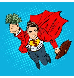 Super Businessman Flying Businessman Pop Art vector image