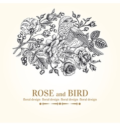 vintage wedding card with bird roses and berries vector image vector image