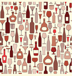 wine bottle and wine glass seamless pattern drink vector image vector image
