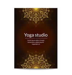 yoga studio banner with gold glitter mandalas vector image vector image