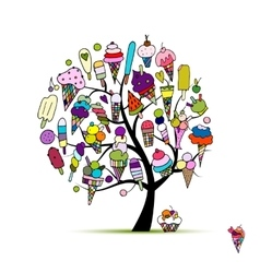 Icecream tree sketch for your design vector