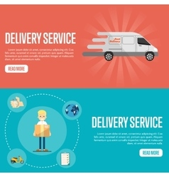 Delivery service horizontal website templates vector