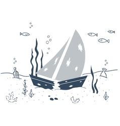 Shipwreck sunken boat underwater vector image