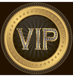 Vip golden label with diamonds vector image