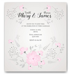 Wedding invitation flowers template vector
