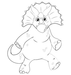 Doodle animal for dinosaur with sharp horn vector