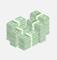 Stacks of one hundred dollar bills vector