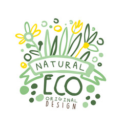 Natural eco label original design logo graphic vector