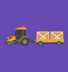 Tractor carrying boxes vector