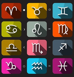 Zodiac - horoscope rounded square icons set on vector
