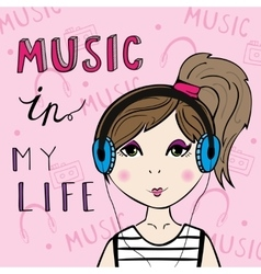 Girl listening to the music vector
