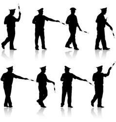 Set black silhouettes police officer with a rod vector