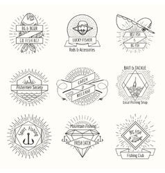 Retro fishing logo or labels set vector