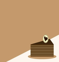 Chocolate cake slice iconcake card vector