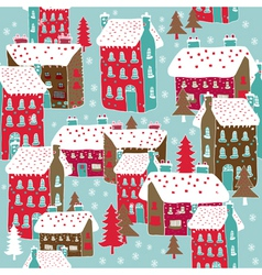 Winter township wallpaper vector