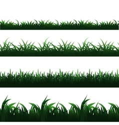 Green seamless grass borders set vector