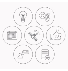 Gps question and lightbulb icons vector