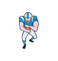American football running back fending cartoon vector
