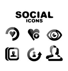 Black glossy social icon set vector image